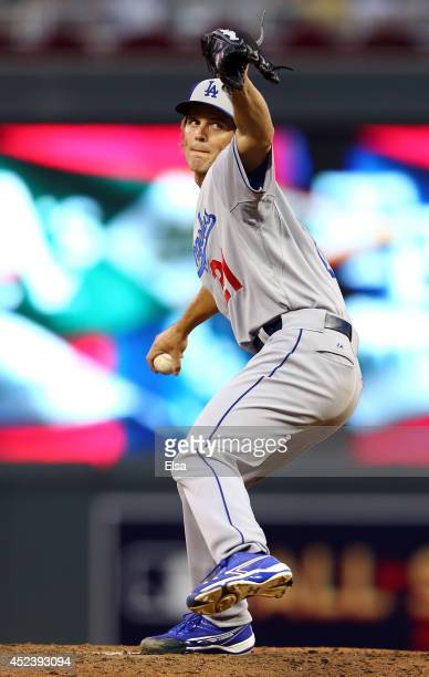 National League AllStar Zack Greinke of the Los Angeles Dodgers during the 85th MLB AllStar Game at Target Field on July 15 2014 in Minneapolis...