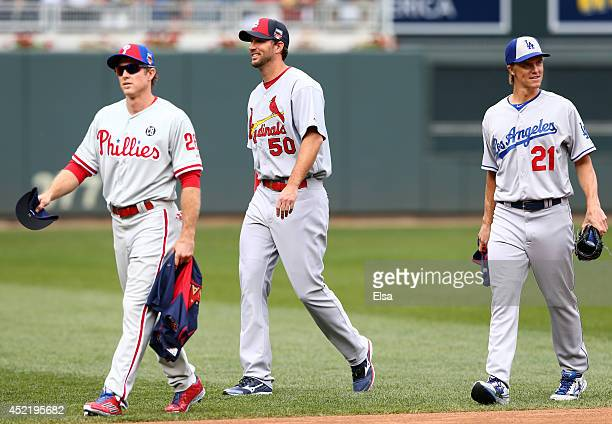 National League AllStars Chase Utley of the Philadelphia Phillies Adam Wainwright of the St Louis Cardinals and Zack Greinke of the Los Angeles...