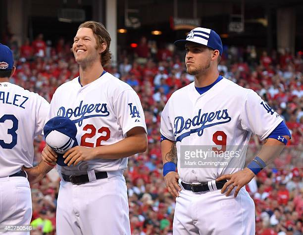 National League AllStars Clayton Kershaw and Yasmani Grandal of the Los Angeles Dodgers look on prior to the 86th MLB AllStar Game at Great American...