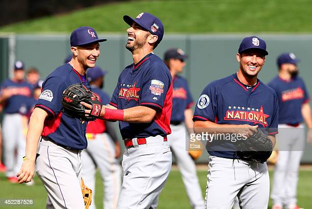 National League AllStars Matt Carpenter of the St Louis Cardinals Troy Tulowitzki of the Colorado Rockies Huston Street of the San Diego Padres...