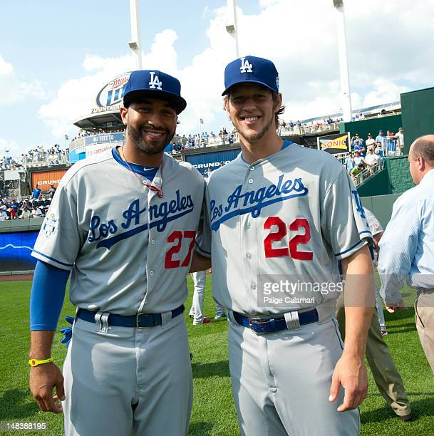 National League AllStars Matt Kemp and Clayton Kershaw of the Los Angeles Dodgers pose for a photo before the 83rd MLB AllStar Game at Kauffman...
