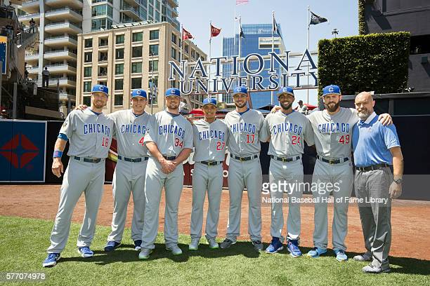 National League AllStars members of the Chicago Cubs Ben Zobrist Anthony Rizzo Jon Lester Addison Russell Kris Bryant Dexter Fowler and Jake Arrieta...