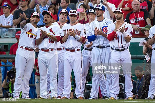 National League AllStars Yadier Molina and Carlos Martinez of the St Louis Cardinals Paul Goldschmidt and AJ Pollock of the Arizona Diamondbacks DJ...