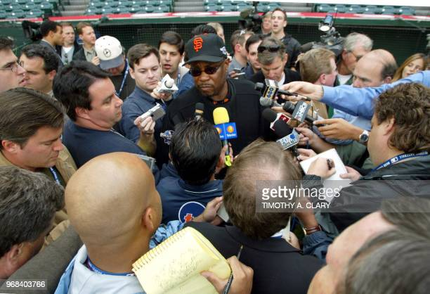 National League Champion San Francisco Giants manager Dusty Baker talks with the press during practice at Edison Field 17 October 2002 in San...