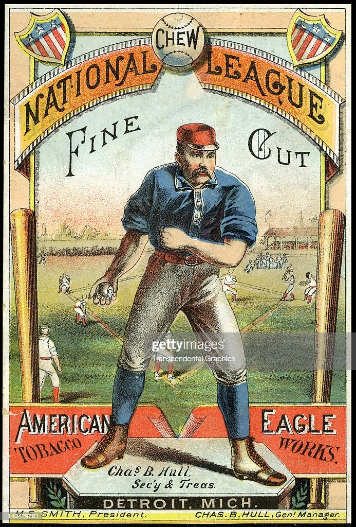National League Chew tobacco naturally uses a baseball to sell the product, with this trade card printed in Detroit, Michigan, circa 1880 .