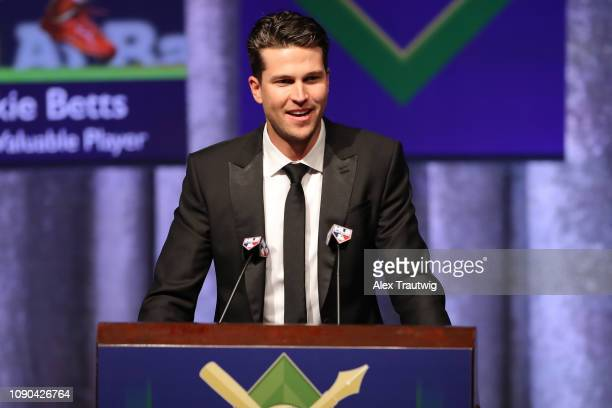 National League Cy Young Award winner Jacob deGrom of the New York Mets speaks during the 2019 Baseball Writers' Association of America awards dinner...