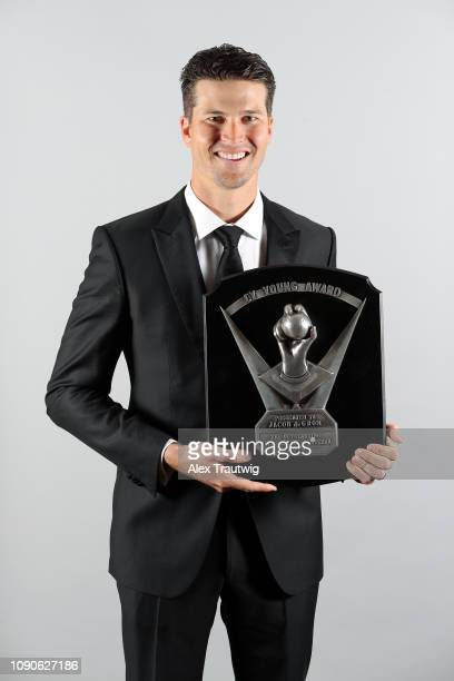 National League Cy Young Award winner Jacob deGrom of the New York Mets poses for a photo during the 2019 Baseball Writers' Association of America...