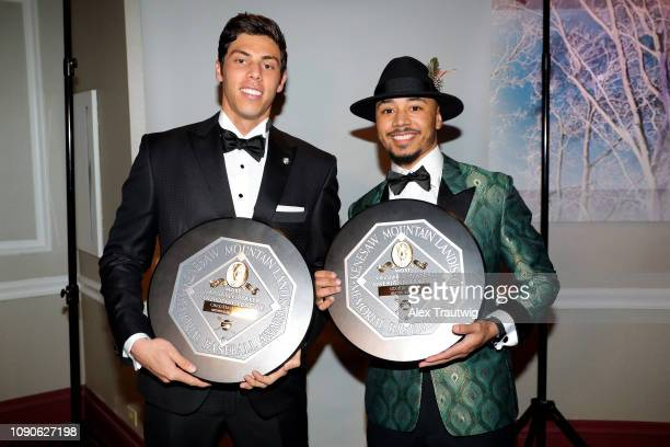 National League MVP Christian Yelich of the Milwaukee Brewers and American League MVP Mookie Betts of the Boston Red Sox pose for a photo during the...