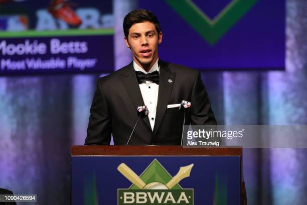 National League MVP Christian Yelich of the Milwaukee Brewers speaks during the 2019 Baseball Writers' Association of America awards dinner on...