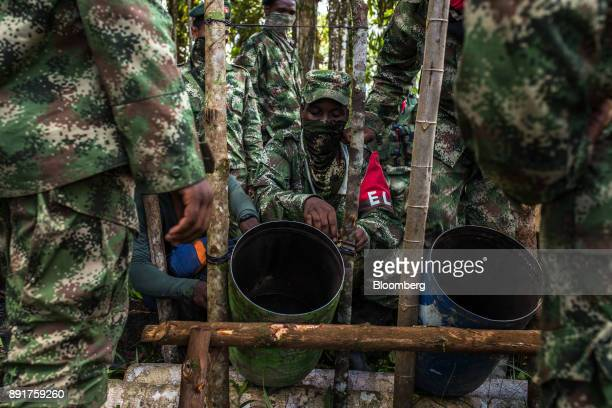 National Liberation Army guerrillas test explosives with homemade mortars known as a pipetas in a remote village in Choco Department Colombia on...