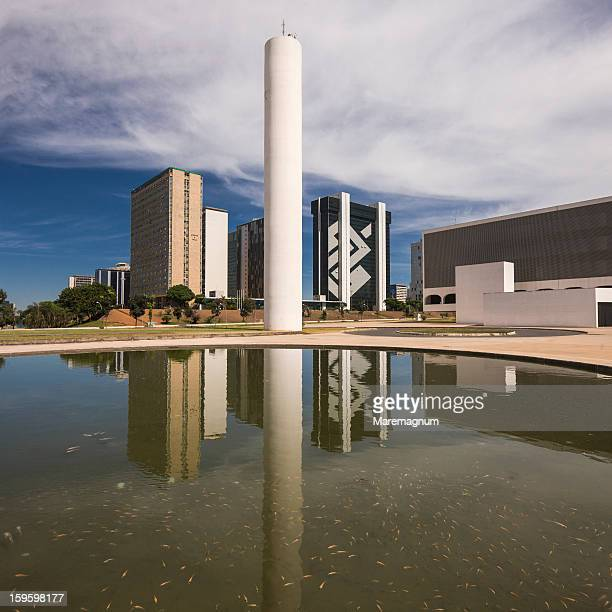 national library of brasília and some buildings - distrito federal brasilia stock pictures, royalty-free photos & images