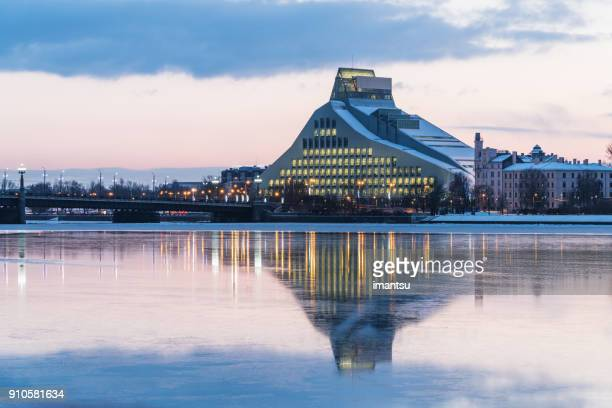 national library of latvia in the evening - council of europe stock pictures, royalty-free photos & images