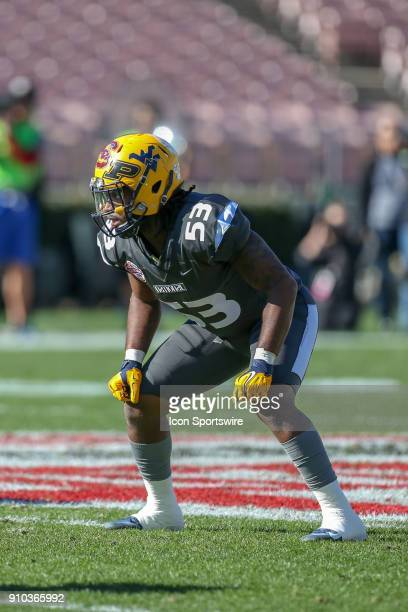 National linebacker AlRasheed Benton from West Virginia University during the NFLPA Collegiate Bowl on Saturday January 20 at the Rose Bowl in...