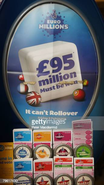 National Lottery kiosk displays the Euro Millions rollover total on February 7 2008 in London A record breaking jackpot of 95 million is up for grabs...