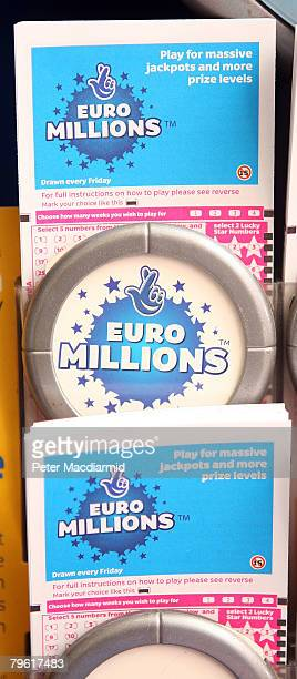 National Lottery kiosk displays the Euro Millions tickets on February 7 2008 in London A record breaking jackpot of 95 million is up for grabs in...