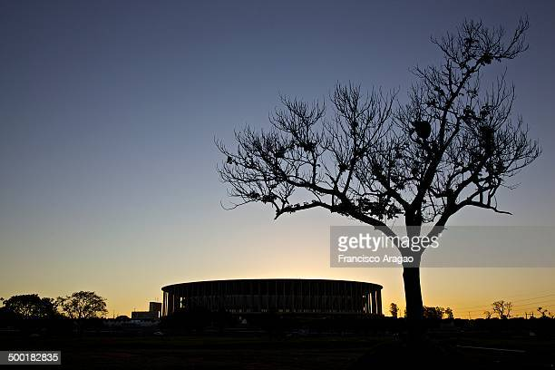 National Mane Garrincha Stadium in Brasilia at sunset.