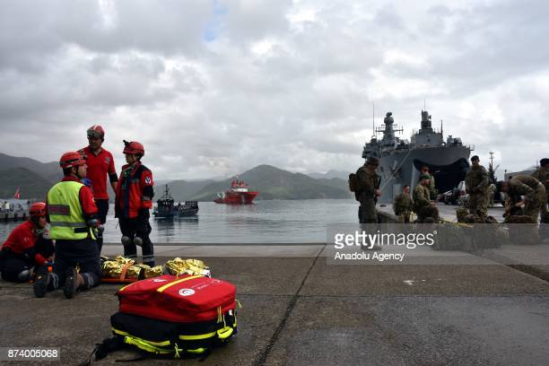 National Medical Rescue Team members perform as first responders while marine soldiers provide security as part of the eastern Mediterranean Naval...