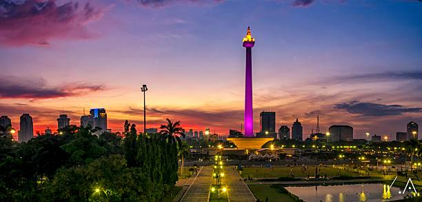 National Monument Of Jakarta At Sunset Wall Art
