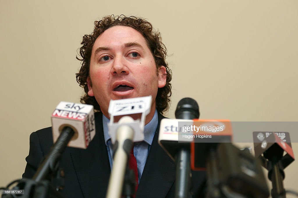 MP Aaron Gilmore Faces Media Following Conduct Controversy : News Photo