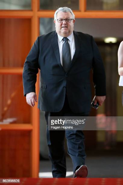 National MP Gerry Brownlee makes his way to a caucus meeting prior to a NZ First announcement at Parliament on October 19 2017 in Wellington New...