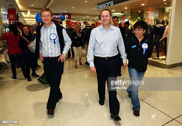 National MP Jonathan Coleman New Zealand Prime Minister John Key and National MP Melissa Lee campaign at the St Luke shopping centre on June 7 2009...