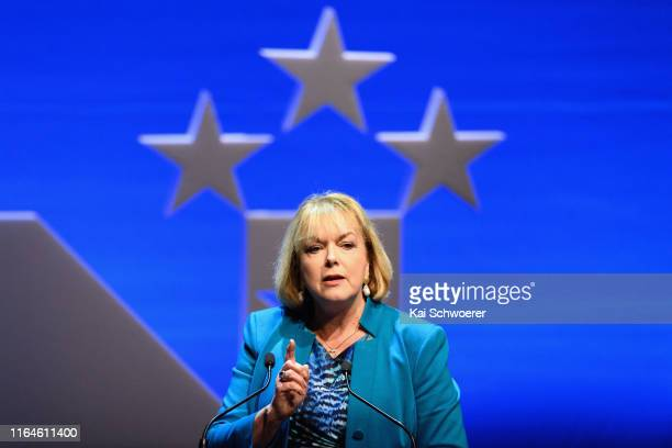 National MP Judith Collins speaks during the 83rd Annual National Party Conference at Christchurch Town Hall on July 28, 2019 in Christchurch, New...