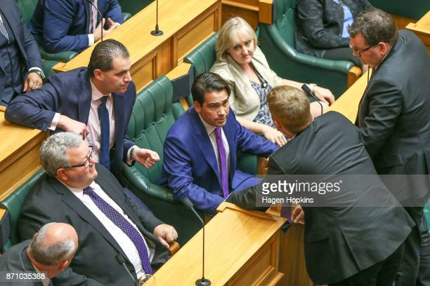 National MP Simon Bridges speaks to Labour MP Chris Hipkins during the Commission Opening of Parliament on November 7 2017 in Wellington New Zealand...