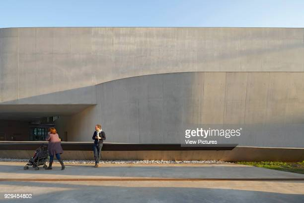 MAXXI National Museum of the 21st Century Arts Rome Italy Architect Zaha Hadid Architects 2009 Exterior view of concrete facade Stirling Prize 2000...