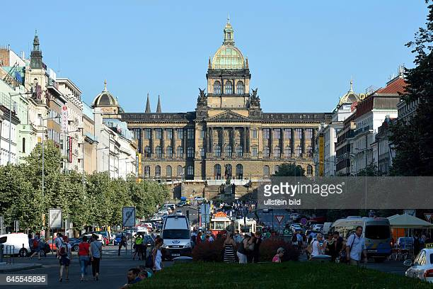 National museum on the Wenceslas Square with the Wenceslas Monument in historic Centre of Prague in the Czech Republic