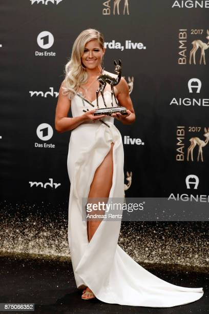 National Music' Award Winner Helene Fischer poses with award at the Bambi Awards 2017 winners board at Stage Theater on November 16, 2017 in Berlin,...