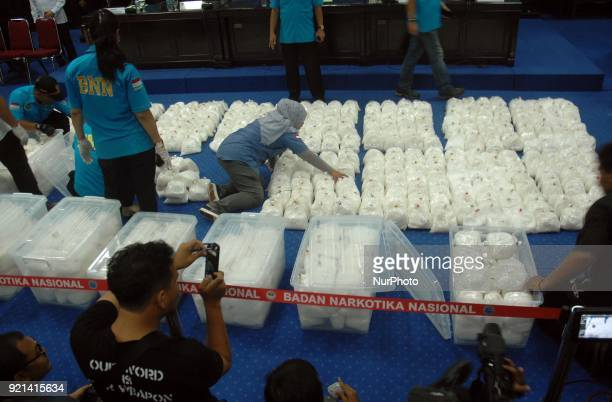 National Narcotics Boarding showed 1037 tons of evidence crystal meth as evidence title in Jakarta In February 202018 Indonesian Navy National Armed...