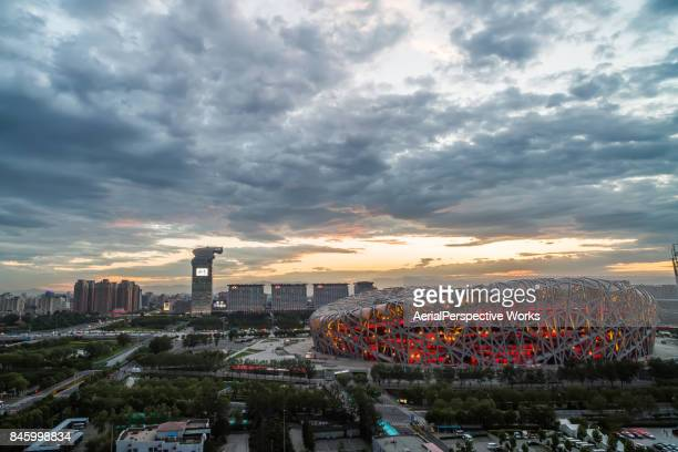 national olympic stadium 'bird's nest' , beijing, china - stadio olimpico nazionale foto e immagini stock