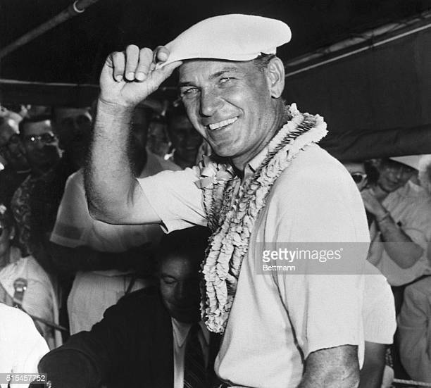 National Open champ Ben Hogan is shown as he donned the victory lei after winning his fourth National Open title with fiveunderpar 283 for 72 holes...