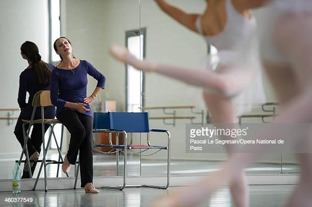 National Opera Ballet School Director Elisabeth Platel gives a dance lesson to pupils on September 20 2012 in Nanterre France The oldest ballet...