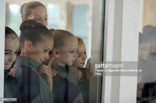 National Opera Ballet School pupils watch a dance lesson on September 20 2012 in Nanterre France The oldest ballet school of the Western world it was...