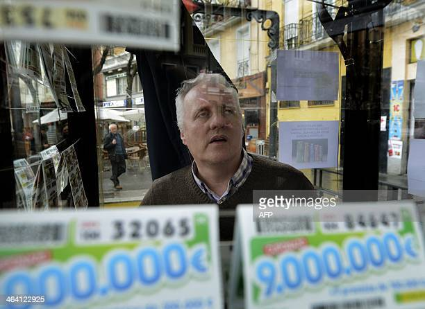 SILVA National Organisation for Spanish Blind People ticket seller Ricardo Velesar sells tickets for its daily lottery from a booth on a square in...