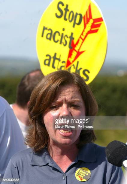 ANL National Organiser Julie Waterson speaks during a Anti Nazi League press conference in Sawley Lancashire Members of the antiracist party are...