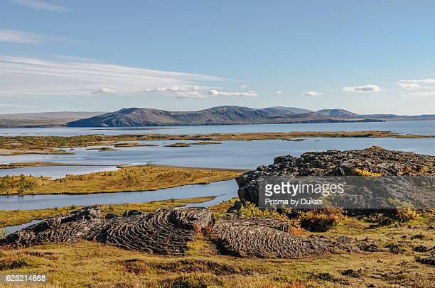 National park Pingvellir and Pingvallavatn the largest lake of Iceland