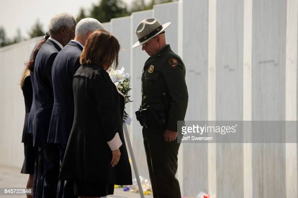 National Park Service Ranger presents a wreath to Vice President Mike Pence and Interior Secretary Ryan Zinke at the Flight 93 National Memorial on...