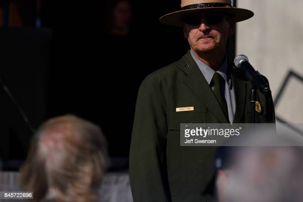National Park Service Ranger Robert Franz reads the names of the victims at the Flight 93 National Memorial on the 16th Anniversary ceremony of the...