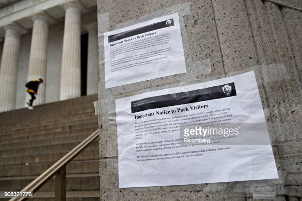 A National Parks Service sign describing the lack of park services during the federal government shutdown hangs at Lincoln Memorial in Washington DC...