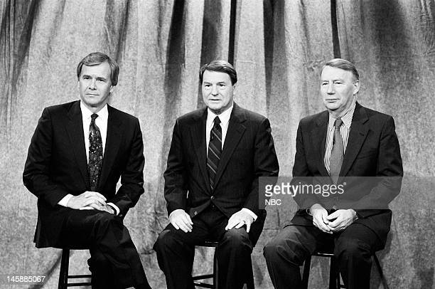 NBC NEWS 1992 National Party Convention Coverage Pictured NBC News' Tom Brokaw PBS' Jim Lehrer PBS' Robert MacNeil of The MacNeil/Lehrer Report join...