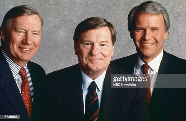 NBC NEWS 1992 National Party Convention Coverage Pictured PBS' Robert MacNeil Jim Lehrer of The MacNeil/Lehrer Report NBC News' Tom Brokaw join...