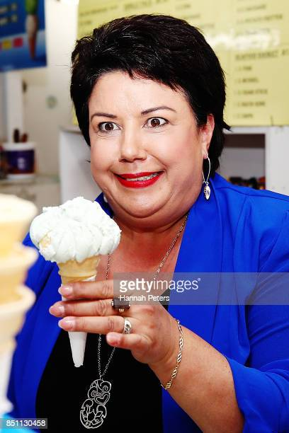 National Party deputy leader Paula Bennett serves icecreams in Pokeno on September 22 2017 in Auckland New Zealand Voters head to the polls on...