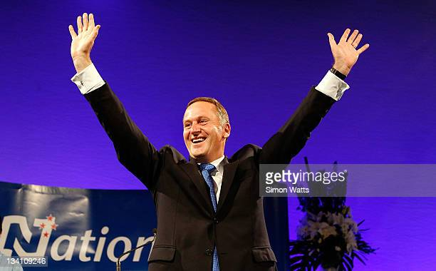 National Party Leader and Prime Minister elect John Key celebrates at the Sky City Convention Centre during the 2011 General Election on November 26...