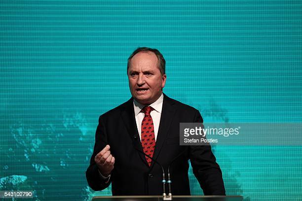 National Party Leader Barnaby Joyce speaks during the Liberal Party 2016 Federal Campaign Launch on June 26 2016 in Sydney Australia Malcolm...