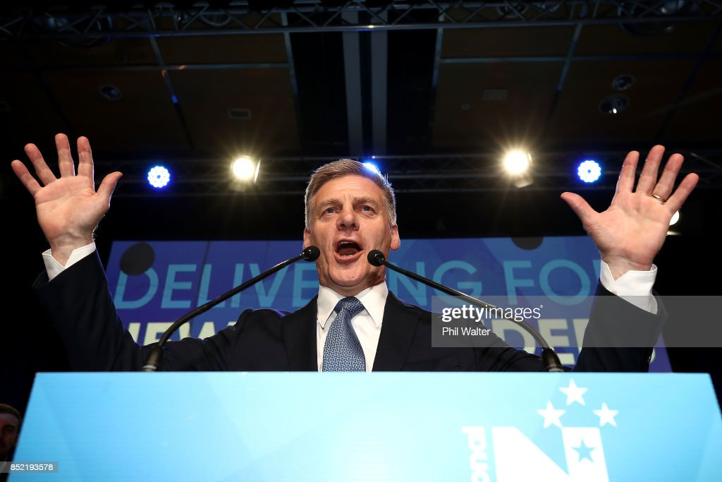 National Party leader Bill English addresses his supporters on September 23, 2017 in Auckland, New Zealand. With results too close to call, no outright winner between National's Bill English and Labour's Jacinda Ardern was able to be announced.