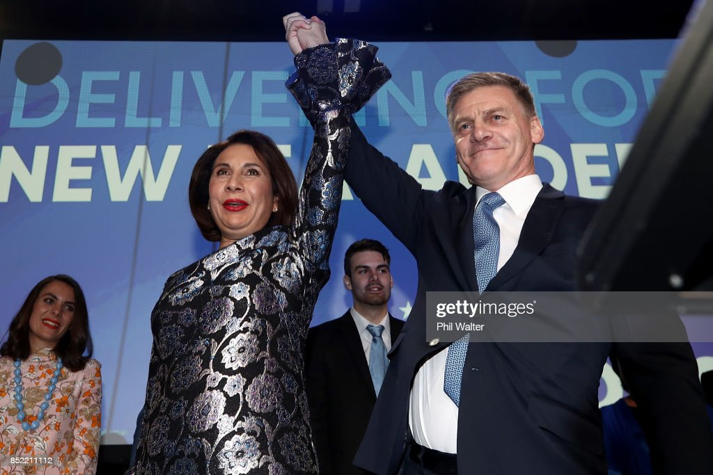 National Party Leader Bill English and his wife Mary English greet supporters at Sky City on September 23, 2017 in Auckland, New Zealand. With results too close to call, no outright winner between National's Bill English and Labour's Jacinda Ardern was able to be announced.