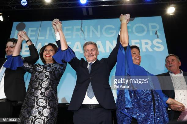 National Party leader Bill English celebrates with his wife Mary English and Deputy Prime Minister of New Zealand Paula Bennett on September 23 2017...