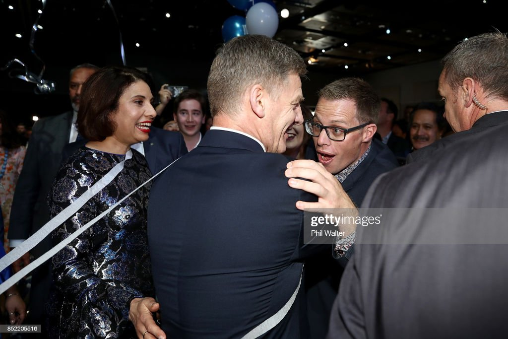 National Party Leader Bill English greets supporters on September 23, 2017 in Auckland, New Zealand. With results too close to call, no outright winner between National's Bill English and Labour's Jacinda Ardern was able to be announced.